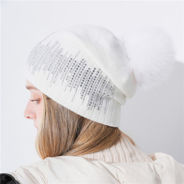 Xthree Keep Warm  Women Winter Hat With Fox Pom Pom Beanies Hat Cashmere Knitted Hat Gorro Wool Hat Brand Cap