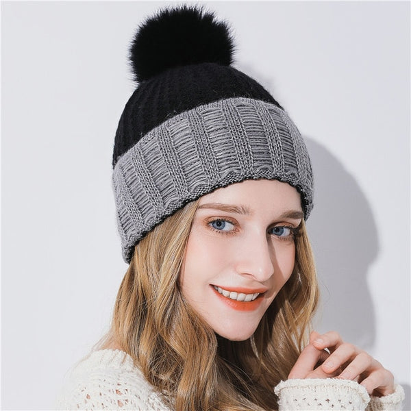 Xthree Women Winter Hat For Girl Knitted Hat Keep Warm Beanie Gorro Wool Rabbit Fur Cashmere Blend Brand Pom Pom Hat For Women
