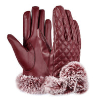 Faux Synthetic Outdoor Driving Gloves Full Fur Gloves Women With Fingers Leather
