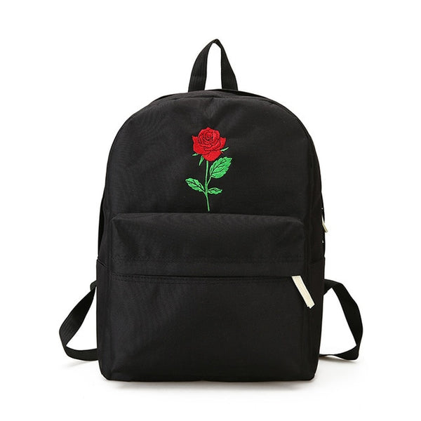Menghuo Men Heart Canvas Backpack Women School Bag Backpack Rose Embroidery Backpacks for Teenagers Women's Travel Bags Mochilas
