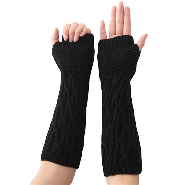 Hole Arm Cable Women Knit Gloves Fashion Long Thumb Fingerless Warmer Soft