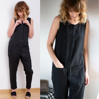 2018 Celmia Women Overalls Sleeveless Casual Button Solid Cotton Linen  Jumpsuits Long Trouser with Pockets Plus Size 5XL Romper
