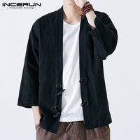 2018 Fashion Ethnic Men's Coats Jackets Kimono 100%Cotton Black Cardigan Japan Style Open Stitch Button Long Sleeve Hombre Tops