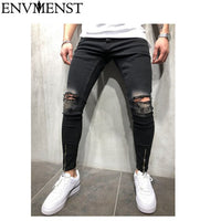 Envmenst New Black Ripped Jeans Men With Holes Denim Super Skinny Famous Designer Brand Slim Fit Jean Pants