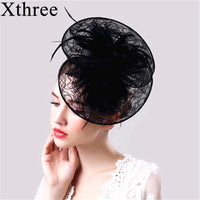 Xthree fashion linen Ostrich fur Wedding Hat party hat Banquet hats Fedora hat for women