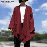 Hiphop Men's Cardigan Hoodie Cloak Long Sleeve Autumn Hoody Trench Casual Jacket Cape Coat Men Clothing Black New Coat NCERUN