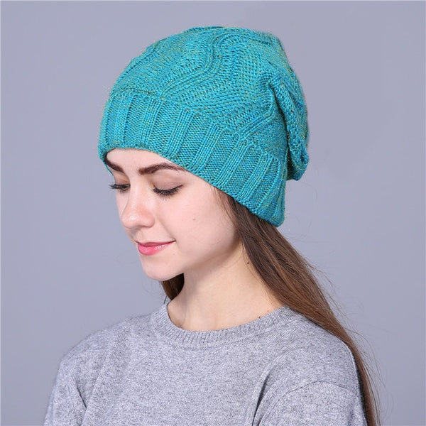 Xthree New Double layer keep warm winter hat for women cheap girl 's hat knitted hat Cotton beanies cap new thick female cap