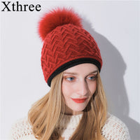 Xthree Women Keep Warm Cashmere Winter Hat For Girl Knitted Hat Beanie Gorro Wool Blend Brand Fox Fur Pom Pom Hat For Women