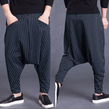 Brand Men's Pants Hiphop Harem Cross-pants 5XL Drop Crotch Striped Pockets Sweatpants Baggy Fashion Trousers Hombre Pants Punk