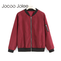 Jocoo Jolee Fashion Bomber Jacket Women Long Sleeve Basic Coats Casual Windbreaker Thin Slim Outerwear Short Jackets 2018
