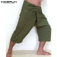 2018 New Fashion Pants Men Massage Thai Fisherman Pants Casual Wide Leg Calf-length Pockets Cool Men Women Plus Size S-5XL