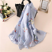 Bright color butterfly print simple fashion lady scarf shawl silk fabric charming texture high-grade temperament