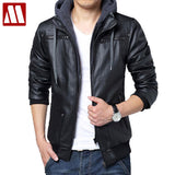Free shipping 2018 Winter removable hooded Coat Mens hoody Jackets outwear slim fit leather jacket Man transverse leather coats