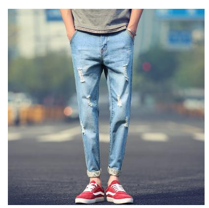 FAVOCENT New men's jeans nine points Long pants spring and summer 2018 hole men's trousers torn jeans male sexy crime jeans HOT