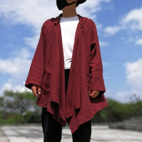 2018 Chinese Style Men's Cardigan Hiphop Black Hoodie Cloak Long Sleeve Autumn Cotton Hoody Trench Casual Jacket Cape New Coat