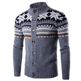 2018 Winter  Men Sweater Cardigan Chic Knitted Vintage Ethnic Style Long Sleeve Knitwear Sweaters Male Pullovers 4 Color