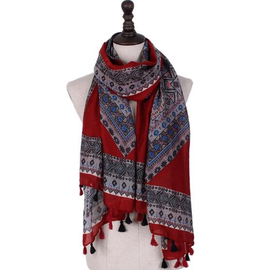 High quality twill cotton geometic pattern paisley bohemian shawls long muslim wraps autumn design scarves/scarf