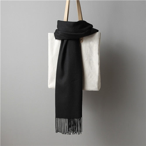 Autumn and winter simple fashion ladies scarf tassel shawl imitation cashmere fabric glamorous texture high-grade temperament