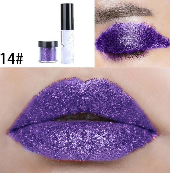 Shimmer Glitter Lip Gloss Powder Palette Glitter Lipstick 20 Color  Cosmetic Eye shadow Fashion Lip Gloss Makeup Set Tools