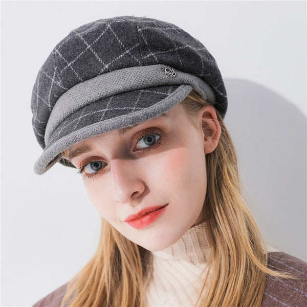 Xthree fashion solid winter women's hat wool and cotton octagonal hat with visor newsboys hat for girl women autumn wool cap