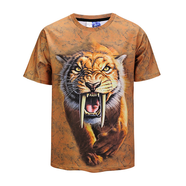 Cool T-shirt 3D Saber Tooth Tiger Print Short Sleeve Summer Tops Tees Tshirt Fashion Print Shirt