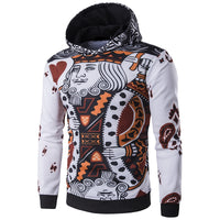 2018 Winter New Casual Men Hoodies 3D Playing Cards Poker Print Sweatshirts Hip-Hop Stylish Tracksuit Punk Pullovers Tops Men