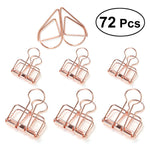 72pcs Metal Hollow Binder Clips Organizers Paper Photo Clips for Office Bill File Small and Middle Size