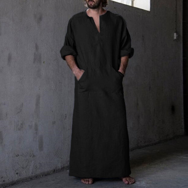 Middle East Islamic Man Thobe Kaftan Clothing Hombre Men's Shirts Robe Dress Long Sleeve Cotton V-Neck Full Length 5XL Masculino