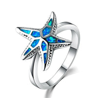 Marcats Fashion Crystal Blue Fire Opal Sea Mermaid Whale Tail Star Finger Ring for Women Female Filled Ocean Animal Jewelry Gift