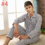 Autumn Spring Sleepwear for Men Boys Plaid Stripe Male Pajama Sets Male Home Leisure Sleepwear Men Breathable Homewear SizeL-3XL