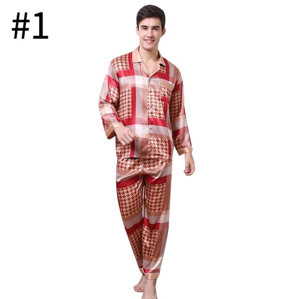 Home Sleepwear for Men Boys Comfortable Men Pajama Sets Male Casual Home Nightgowns Men Autumn Long Sleeves Soft Pajama Sets