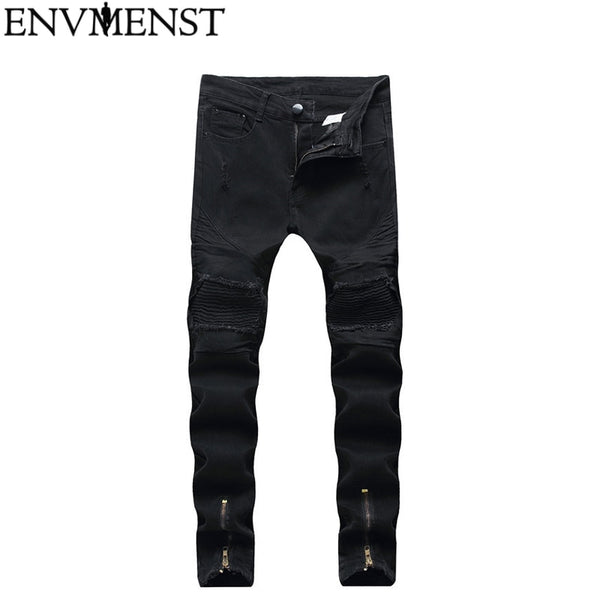 Envmenst  2018 Men Jeans With Holes Denim  elastic Skinny New Brand Slim Fit Jeans Solid Color Full Lenght Pencil Jean Pants