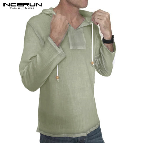 INCERUN Men Shirt Long Sleeve Hooded 100%Cotton Solid Color Loose Casual Shirts Blouse Streetwear Vintage camisa masculina S-3XL