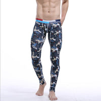 Autumn Casual Men Long Johns Thermal Underwear Sleep Printed Bottoms Casual Pants Trousers