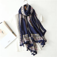 Chinese style new hot selling high quality in women's scarves simple fashionable elegant Ethnic totem geometric pattern scarves