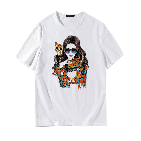Men's Casual Short Sleeve T-shirts Loose Round Collar Girl Cat Printed Shirts