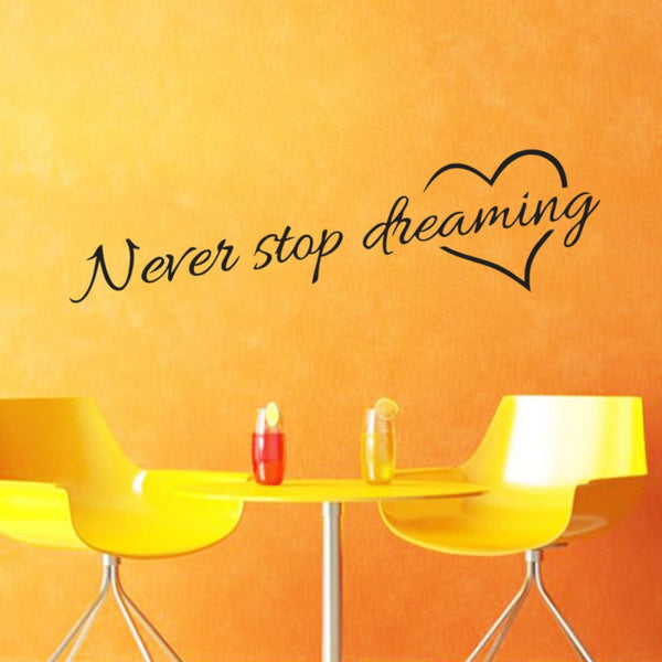2018 New Home Wall Papers Never stop dreaming A smile is the best makeup Believe youself English Poetry Wall Stickers