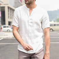 Elegant Men Shirts Cotton Striped Summer Casual Shirts Short Sleeve Pullover Shirt Men Clothes Slim Fit Hombre Camisa Chemise