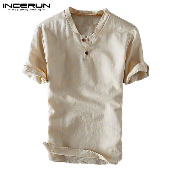 INCERUN Men Shirt Pullover Short Sleeve Solid Cotton Linen Shirt Slim Button Breathable Casual Fashion Tops Camisa S-3XL 2018