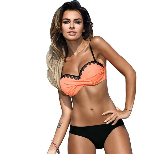 HolaSukey 2018 Sexy Bikini Set Solid Bikini New Swimsuit Women Lace Bandeau Swimwear Women Summer Bathing Suits Biquini