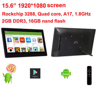 15.6 inch Android digital signage with Remote (No touch, 1920*1080 screen, RK3288 2GB DDR3, 16GB nand flash, Bluetooth, VESA)