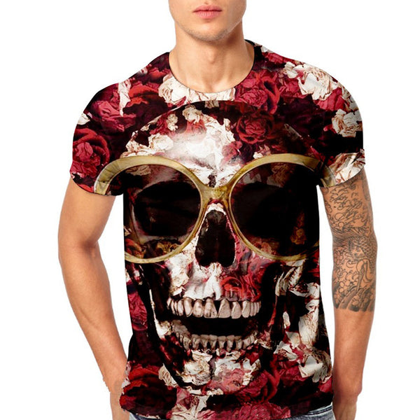 Mens Skull 3D Printing Tees Shirt Short Sleeve T-Shirt Blouse Tops