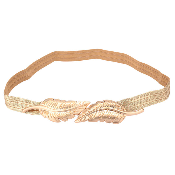 Vintage Women Belt Leaves Clasp Front Stretch Skinny Elastic Belt Waist Strap Gold