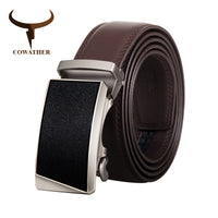 COWATHER Men Belt Cowhide Belts for Men Cow Genuine Leather Male Strap Alloy Buckle Fashion Design Male Waistband Newest CZ126