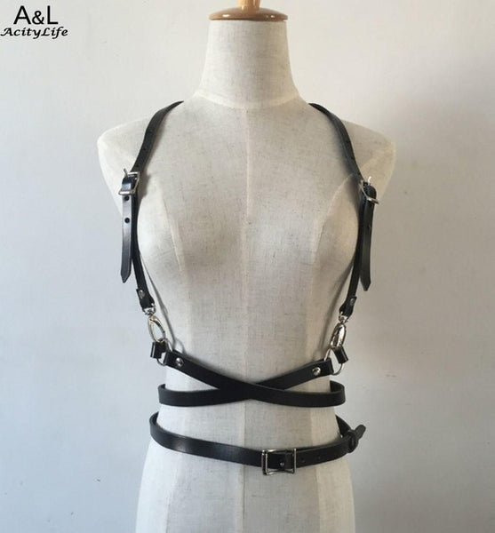 Body O-Ring Garters Suspenders Belt Harajuku Harness Punk Bondage Faux Cage Leather Fashion Waist Belt Straps Sculpting