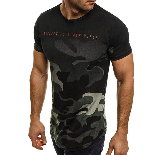 Fashion Personality Camouflage Men's Casual Slim Short-sleeved Shirt Top Blouse