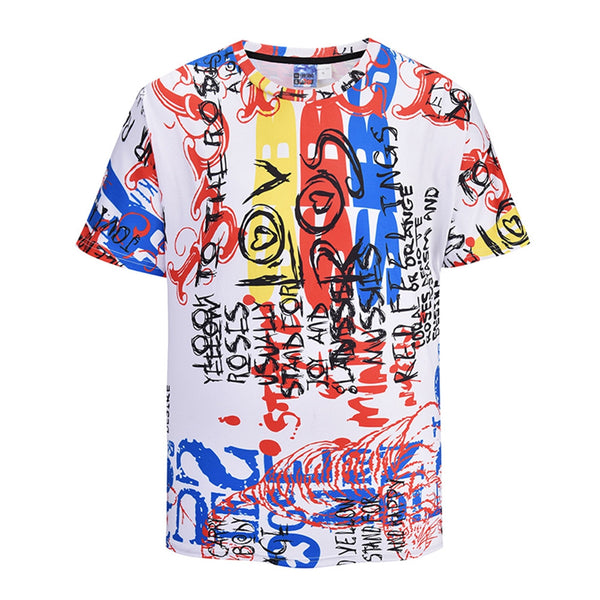 Cool Graffiti 3D Print T-shirt Short Sleeve Summer Tops Tees Fashion Loose Shirt for Men Women