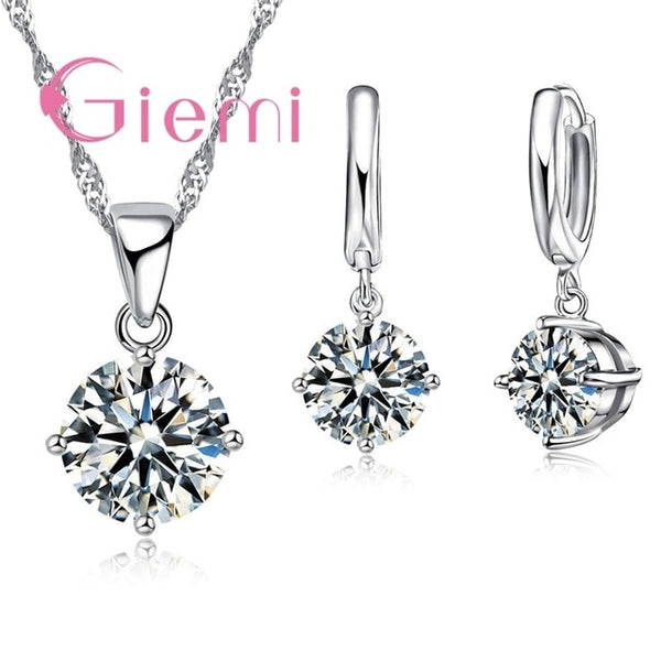 Giemi Hot Sale 8 Colors Crystal Pendant Necklace Earrings Set 925 Sterling Silver Elegant Jewelry Set Women Valentine Gifts