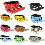 Fashion Women Lady Braided Belt Candy Color Skinny Thin Weave Plaid Buckle Cross Belt PU Leather Green