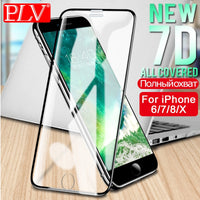 PLV 7D Aluminum Alloy  Full Cover Screen Protector Glass For iPhone 6 6S 7 Plus Tempered Glass For iPhone X 8 5 SE 5s Glass Film